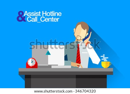 Flat banner with person office worker call center and helpline with desk, flat man with a cell phone, laptop, table clock and a cup of coffee - stock vector