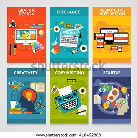 Flat banners, Graphic Design, Copywriting, Creativity, startup, Responsive Webdesign and Freelance Concept - stock vector