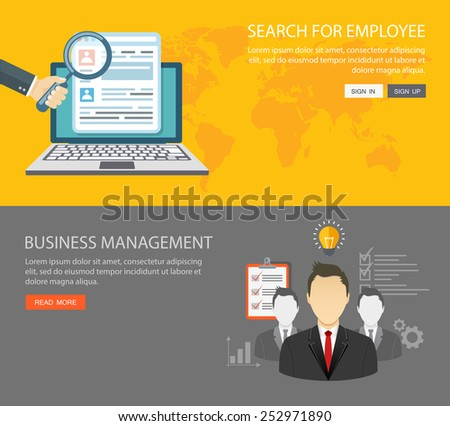 Flat banners set. Search for employee and business management. Eps10 - stock vector