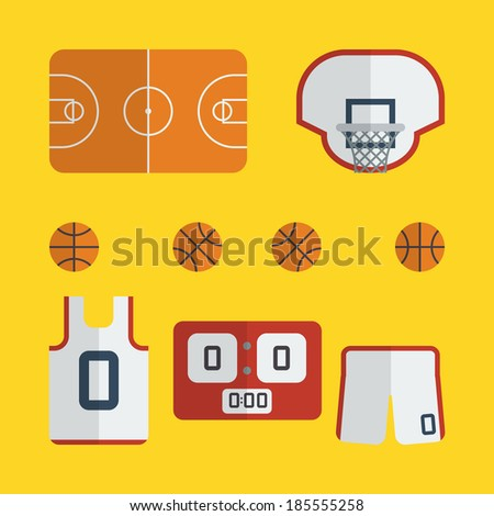 Flat basketball icons design with yellow background - stock vector