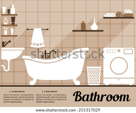 Flat Bathroom Interior Decorating Infographic Template With An  Old Fashioned Freestanding Bathtub, Washing Machine