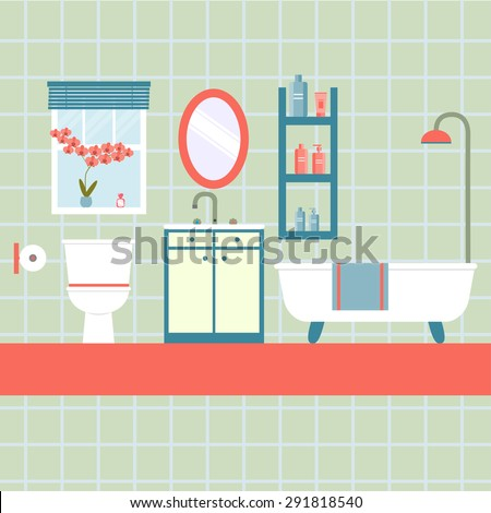 flat bathroom with window and toilet, orchid. vector illustration - stock vector