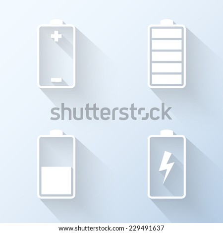 Flat battery icons. Vector illustration