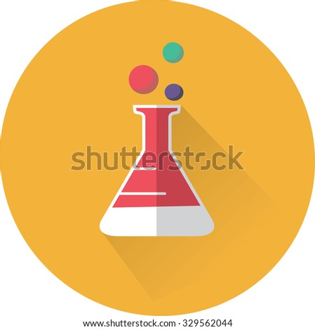 flat beaker icon - stock vector