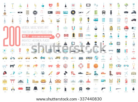 Flat big collection set icons of medical, army, war, shoe, nature, news, draw, police, rafting, room, science, boat, sport, gym, car, animal, summer, tool, country. For infographic illustration design - stock vector