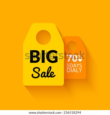 Flat big sale badge, vector poster with percent - stock vector