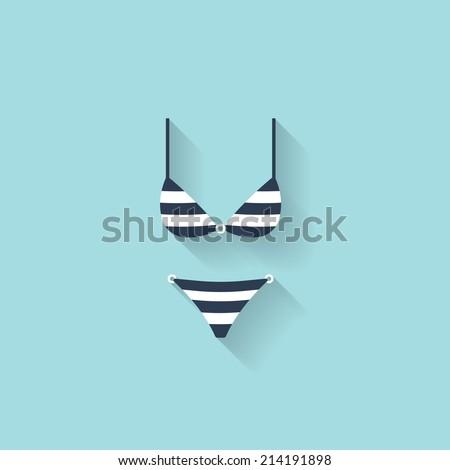 Flat bikini web icon - stock vector
