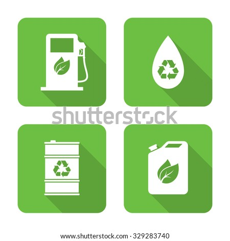 Flat biofuel icons with long shadows. Vector illustration