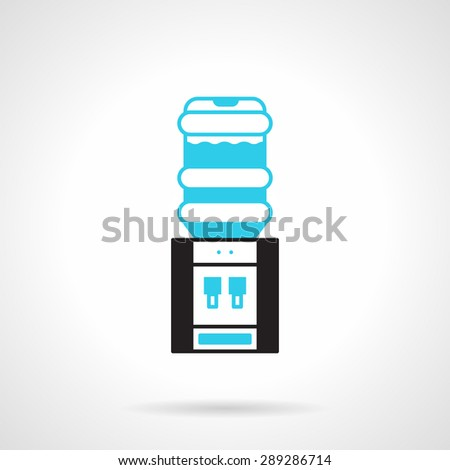 Flat black and blue design vector icon for office water cooler, water dispenser on white background. - stock vector