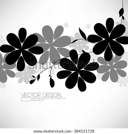 flat black and gray silhouette flower elements nature background - stock vector