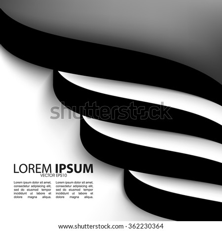 flat black and white spiral, wavy lines elements elegant background illustration. eps10 vector - stock vector