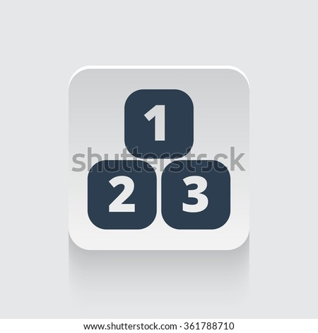 Flat black 123 Blocks icon on rounded square web button - stock vector