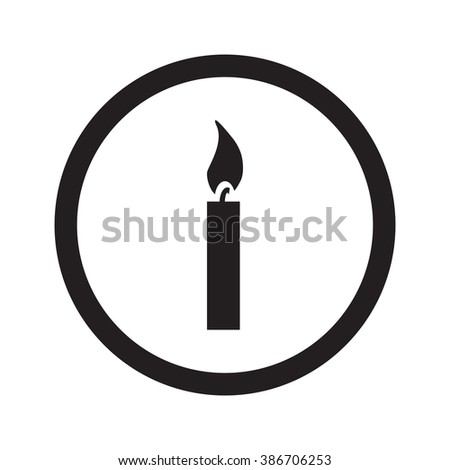 Flat black Candle Light web icon in circle on white background