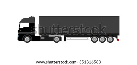 Flat black cargo delivery truck (on white background). Perfect design element, vector art.