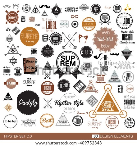 Flat black colored set of 80 hipster vintage line flat retro labels, stamps, signs, marks and calligraphy, text and stickers, graphic elements glasses, deer's horns, stars, mustaches