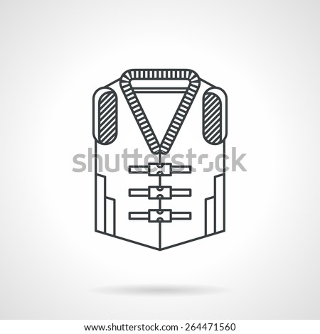 Flat black line vector icon for life jacket on white background. - stock vector