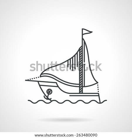 Flat black line vector icon for sailing yacht with anchor on sea wave on white background. - stock vector
