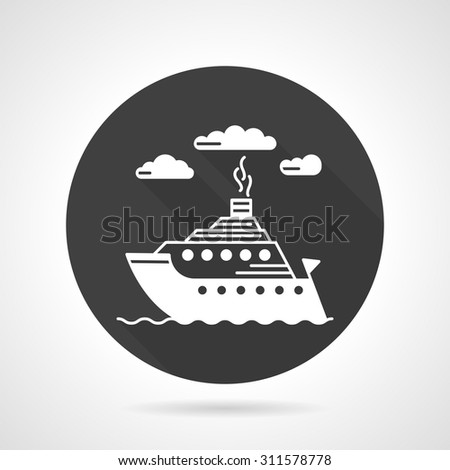 Flat black round vector icon with white contour seascape with steamer. Passenger transportation, tourism, marine vessel. Design elements for business and website - stock vector