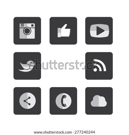 flat black & white square button designs of camera, like, messenger bird, phone receiver, website, share - social network vector icons. This also represents rss, cloud computing, playing video - stock vector