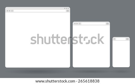 Flat blank browser windows for different devices. Vector Template for your content - stock vector