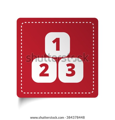 Flat 123 Blocks icon on red sticker - stock vector