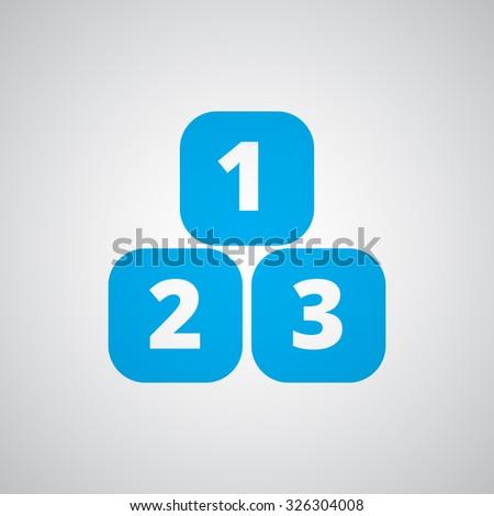 Flat blue 123 Blocks icon  - stock vector