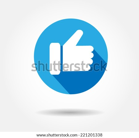 Flat Blue Button Hand Like Icon Facebook Vector Background, JPG, JPEG,EPS Logo design Faceboo Download - stock vector
