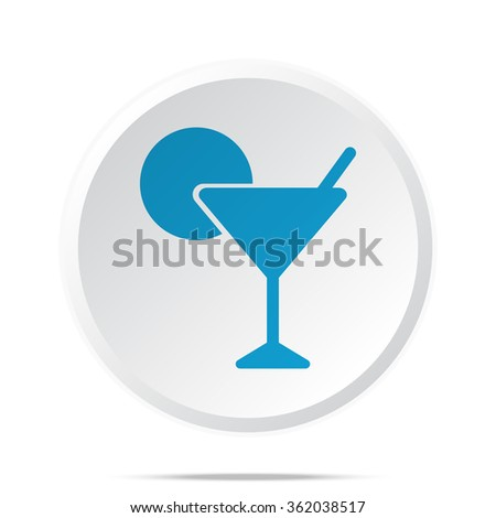 Flat blue Cocktail icon on circle web button on white