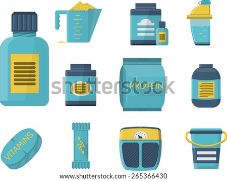 Flat blue icons collection of sport supplements set for sportsmen healthy nutrition and good growth. - stock vector
