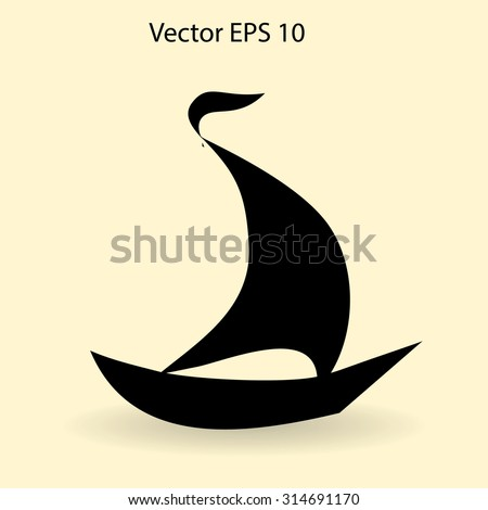 Flat boat icon. Vector. - stock vector