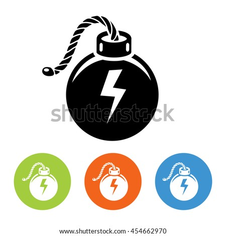 Flat bombs with lit fuse icons set vector - stock vector