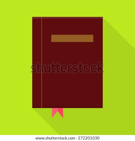 Flat Book with Bookmark and Long Shadow. Vector Illustration of Education Object Flat Stylized - stock vector