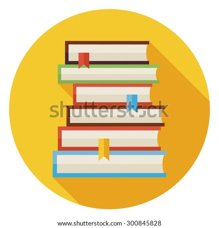 Flat Books with Bookmarks Circle Icon with Long Shadow. Back to School and Education. Wisdom Knowledge and Library Vector illustration. Reading Book with Bookmark Object.  - stock vector