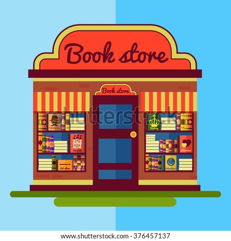 Flat bookstore. Book shop illustration.