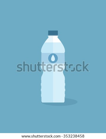 Flat bottle of fresh water with cap and water drop label. - stock vector