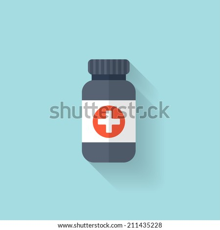 Flat bottle with medical pills icon. Tablets symbol. Health care. - stock vector