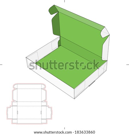 Flat Box with Lid and Die-cut Pattern - stock vector
