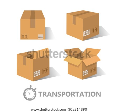 Flat boxes icons set. EPS10 - stock vector