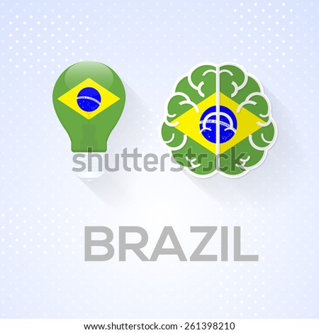 Flat Brain and Creative Ideas Flat Vector National Icons Brazil Theme - stock vector