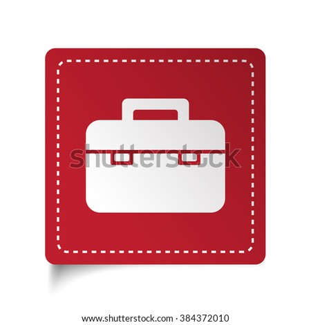 Flat Briefcase icon on red sticker - stock vector