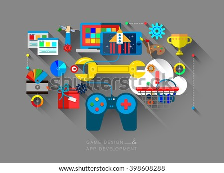 Flat bright design of web banner template of mobile OS game programming and testing, software application development. Tasty vector illustration concept for website or infographics.