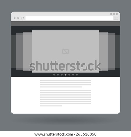 Flat browser window with photo slideshow. Vector illustration - stock vector