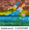 flat brushes with paint's splashes on a Colorful Vector Wooden Planks - stock vector