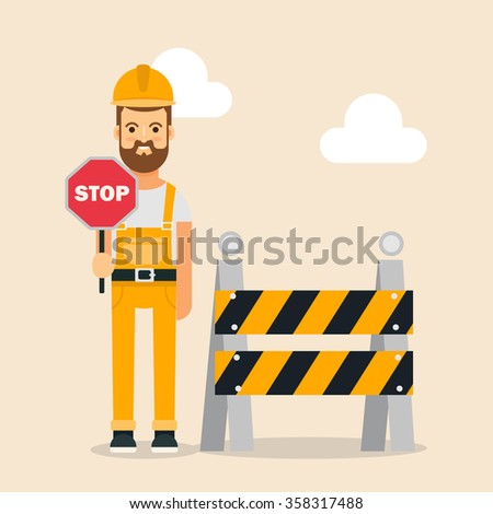 Flat Builder Holding Stop Sign Near the Road Barrier. Colorful Vector Illustration