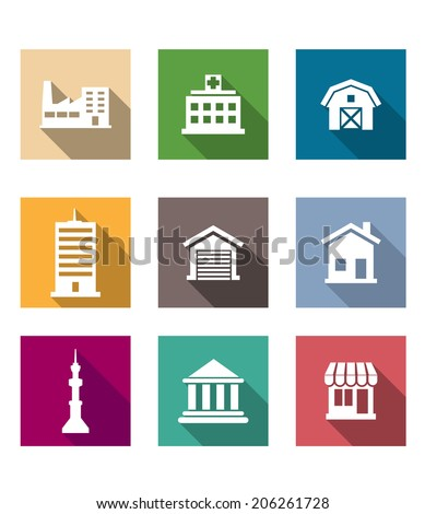 Flat buildings icons set on colourful square web buttons or logo depicting industry hospital barn skyscraper garage, house, communications tower, bank or university and shop - stock vector