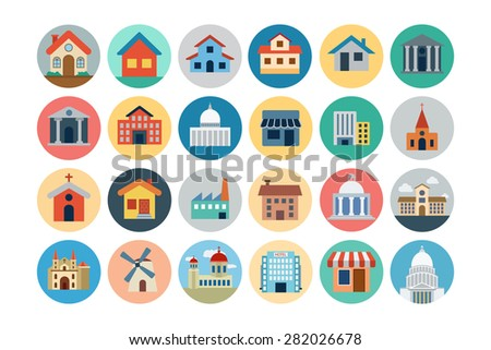 Flat Buildings Vector Icons 1 - stock vector