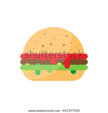 Flat burger illustration. Street bbq hamburger icon. unhealthy grilled beef vector. Isolated burger on white background. Street fast food - stock vector