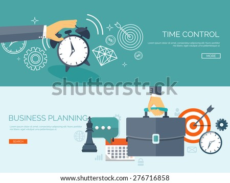 Flat business background. Portfolio. Time management. Alarm. Planning. Aims and smart solutions. - stock vector