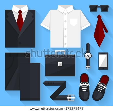 Flat business collection dress. Black color - stock vector