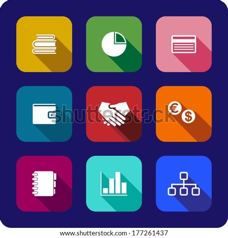 Flat business icons or buttons each on a different coloured background depicting the handshake, currency, purse, chart, graph credit card, notebook and books, vector illustrations